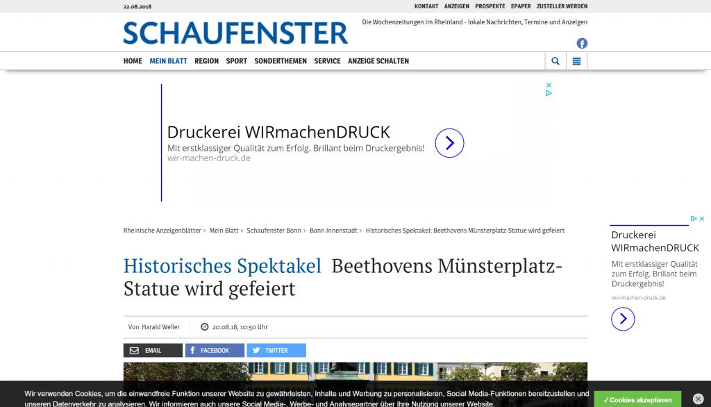 Artikel im Schaufenster Bonn vom 20.08.2018